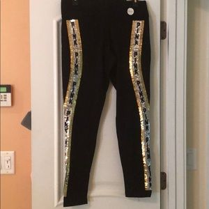 NWT VS Pink leggings with sequin stripe